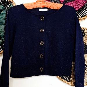 Calvin Klein Sparkling Cardigan Metallic Sweater